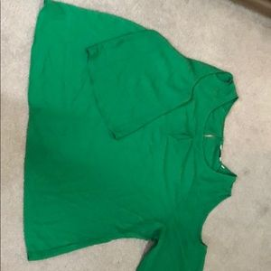 Tops - Green 3/4 sleeve blouse with shoulder cut outs. 2X